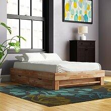 Massivholzbett Eady mit Stauraum Ebern Designs