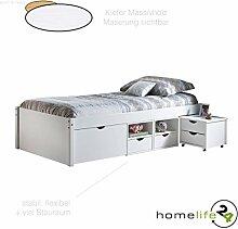 Massivholzbett Jugendbett 90x200 cm durchdachtes Funktionsbett mit einer Komforthöhe von 47,5cm weiß lackiert, praktischem Ordnungssystem 1 Schubladen, 4 Regalfächer und 2 Schubkästen