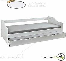Massivholzbett Jugendbett 90x200 cm Kinderbett Bett Funktionsbett Kojenbett Ausziehbett in weiß mit ausziehbarer Bettkasten