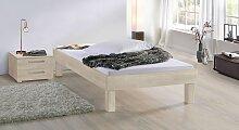 Massivholzbett Komfort, 90x200 cm, Buche weiß