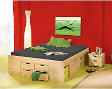 Massivholzbett mit Schubladen ohne Kopfteil