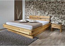 Massivholzbett mit zwei Nachtkommoden geölt