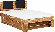 Massivholzbett Rasmus 160x200cm eiche Holz Bett mit Schubkästen