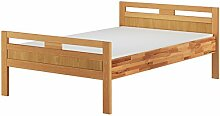 Massivholzbett Seniorenbett Buche natur 120x200 Einzelbett Hohes Bett mit Matratze 60.74-12 M
