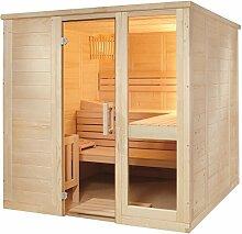 Massivholzsauna Sauna 208 x 158 x 204 komplett mit Glaselement und Bio Combi Saunaofen