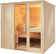 Massivholzsauna Sauna 208 x 206 x 204 komplett mit Glasfront Bio Combi Saunaofen