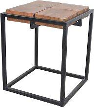 Massivholztisch mit Bügelgestell in Schwarz 40 cm