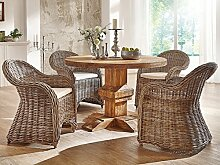 massivum ARO Tischgruppe, Holz, braun, 120 x 120 x