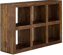 massivum Bücher-Regal Cube 131x88 cm aus massivem Palsinder Echt-Holz mit gewachster Oberfläche in braun, mit 6 Fächern für Wohnzimmer oder Arbeitszimmer