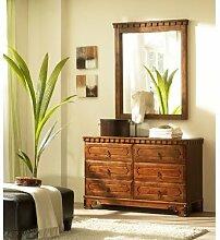 Massivum Byzanz Sideboard mit Spiegel, Holz, braun, 45 x 120 x 74 cm