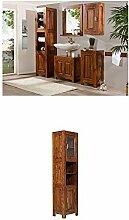 Massivum Cubus Badmöbel Set, Holz, braun, 35 x 45 x 185 cm + Hochschrank Cubus 45x185x35 cm Palisander braun lackier