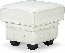 massivum Hocker Chesterfield 50x48x50 cm Echtleder weiß