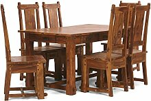 Massivum Lisbon Tisch 150x90+6 Holzstühle Palisander, Holz, Honig, 90 x 150 x 75 cm