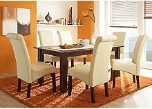 Massivum Logan Tisch 180x90+6 Stühle Kolonial, Holz, Creme, 90 x 180 x 75 cm