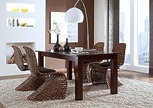 Massivum Maddox Tisch 150 x 90+4 Schwingstühle Rattan, Holz, Kolonial, 90 x 150 x 75 cm