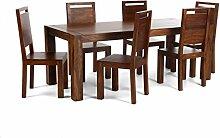 Massivum Monrovia Tischgruppe, Holz, braun, 90 x 175 x 76 cm