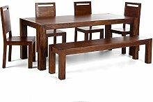 Massivum Monrovia Tischgruppe, Holz, braun, 90 x 200 x 76 cm
