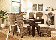 Massivum Nico Esstisch 200x100 + 6 Fineline Stühle, Holz, Kolonial, 100 x 200 x 75 cm