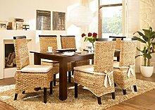 Massivum Nizza Esstisch 200x100 + 6 Stühle, Holz, Kolonial, 100 x 200 x 75 cm