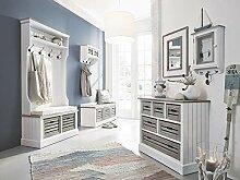 massivum Russel Flur Set 6-teilig weiß, Holz, 40