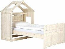 Massivum Safari Bett mit Aufsatz Pinie, Holz, Super-King, weiß, 107 x 206 x 92 cm