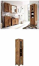 Massivum Stark Badmöbel Set, Holz, braun, 35 x 45 x 185 cm + Hochschrank Stark 45x185x35 cm Palisander braun lackier