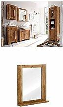 Massivum Stark Badmöbel Set, Holz, braun, 35 x 45 x 185 cm + Spiegel Stark 68x78x13 cm Palisander braun lackier
