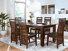 Massivum Suma Esstisch 150x90 mit Ansteckplatten + 6 Stühle, Holz, Kolonial, 90 x 150 x 75 cm