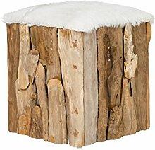 massivum Tyree Hocker Teakholz Fell, natur/weiß, 40 x 40 x 50 cm