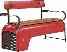 Massivum Unikate Sitzbank Traktor, Metall, rot, 53 x 122 x 80 cm