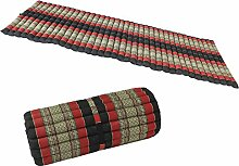 MASSSAGEMATTE Liegematte Rollmatte Yogamatte Rollmatratze 200x100 cm THAIMATTE Matte Liege Kapokmatte Baumwolle Kapok Schwarz Rot KRG5