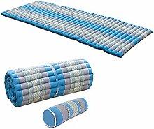 MASSSAGEMATTE + NACKENKISSEN Liegematte Rollmatte Yogamatte Rollmatratze THAIMATTE Matte Liege Kapokmatte 200 x 77cm Baumwolle Kapok Türkis Blau