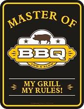 Master of BBQ my grill my rules - Blech-Schild Blechschild mit Spruch, 4 Saugnäpfe - Grösse 17x22 cm