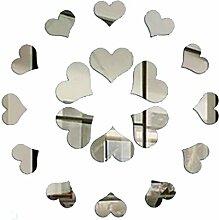 Masterein 18 teile / satz Herz Kombination Spiegel Aufkleber 3D Acryl LIEBE Gespiegelt Wandtattoos DIY Dekoration Tapete Silber-
