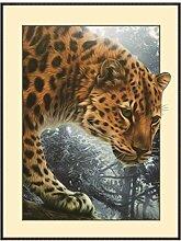 Masterein 5D Resin Diamant-Kreuz-Stich-Eule Katze Wolf Pferd Bär Malerei DIY Karikatur-Tier-Crafts Needlework Bild Leopard 2