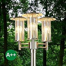 Mastleuchte außen Filko (Modern) in Alu aus Edelstahl (3 flammig, E27, A++) von Lampenwelt | Kandelaber, Außenleuchte
