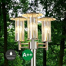 Mastleuchte außen Filko (spritzwassergeschützt) (Modern) in Alu aus Edelstahl (3 flammig, E27, A++) von Lampenwelt | Kandelaber, Außenleuchte