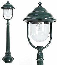 Mastleuchte grün Aluminium 1,12 m | E27 + IP44 + robust + winterfest + dimmbar + 1-flammig | Wegeleuchte Terrasse & Weg | Außenleuchte | Standleuchte | Gartenlampe | Außenlampe | Straßen-Laterne
