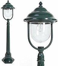 Mastleuchte grün Aluminium 1,12 m   E27 + IP44 + robust + winterfest + dimmbar + 1-flammig   Wegeleuchte Terrasse & Weg   Außenleuchte   Standleuchte   Gartenlampe   Außenlampe   Straßen-Laterne