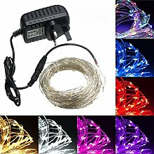 MASUNN 20M LED Silver Wire Fairy String Light Weihnachten Xmas Wedding Party Lampe 12V-lila