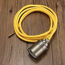 MASUNN 2M E27/E26 Vintage Fabric Kabel Pendelleuchte Hängeleuchte Glühbirnenhalter Sockel-Gold Gelb