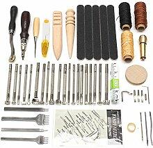 MASUNN 59Pcs Lederhandwerkzeug Für Handstitching / Nähen Set Set Stempeln