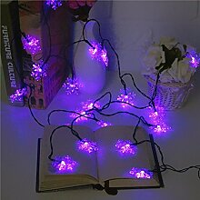 MASUNN 5M 20 LED Snowflake Bling Solar Fairy String Lights Christmas Outdoor Party Multicolor Lampe-lila