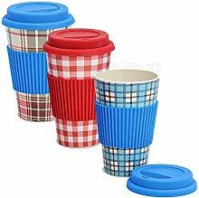 matches21 Becher Coffee To Go Bambus umweltfreundlich nachhaltig Hitzemanschette Karo rot blau 3er Set 14 cm / 340 ml