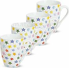 matches21 Becher Tassen Kaffeetassen Kaffeebecher bunte Sterne Sternchen 4-tlg. Set Porzellan je 10 cm / 250 ml