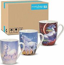 matches21 Becher Tassen Kaffeetassen Kaffeebecher Einhörner Phantasie Porzellan 36 Karton je 10 cm 300 ml