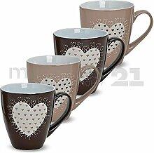 matches21 Becher Tassen Kaffeetassen Kaffeebecher Herz Dekor hellbraun / dunkelbraun Keramik 4er Set je 11,5 cm ca. 450 ml