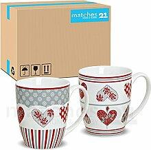 matches21 Becher Tassen Kaffeetassen Kaffeebecher Herz Dekor weiß / grau / rot Keramik 36 Stk. Karton je 10 cm / 300 ml