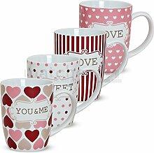 matches21 Becher Tassen Kaffeetassen Kaffeebecher Love Liebe & Herzen 4-tlg. Set Porzellan je 10 cm / 300 ml