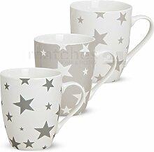 matches21 Becher Tassen Kaffeetassen Kaffeebecher Sterne grau / weiß 3-tlg. Set Porzellan je 10 cm / 250 ml